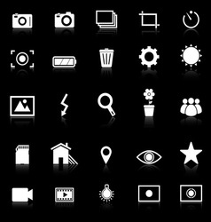 Photography icons with reflect on black background vector image