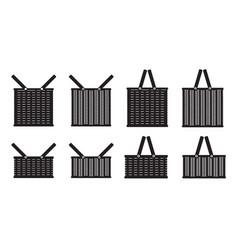 picnic basket silhouette vector image