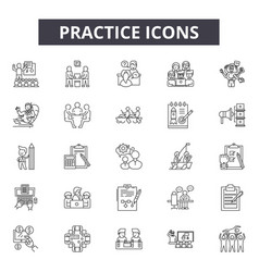 Practice line icons signs set linear vector