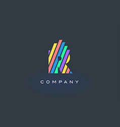r letter logo with colorful lines design rainbow vector image
