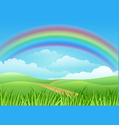 Rainbow landscape cartoon background vector