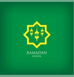 Ramadan kareem with arabic lanterns on green vector