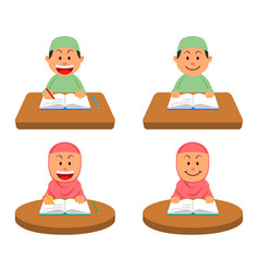 reading and writing book at table moslem vector image