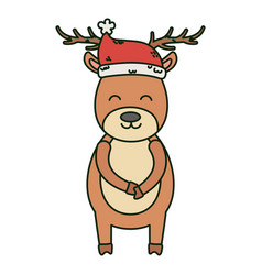 reindeer wearing hat celebration merry christmas vector image