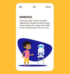 Robotics ai invention program flat mobile page vector