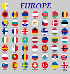 Round flags europe vector