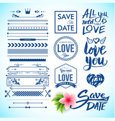 save the date and love labels as graphic icons vector image