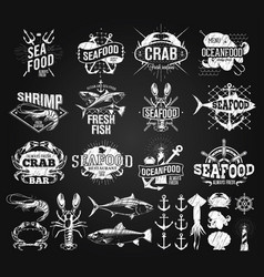 Seafood labels logo chalk drawing vector