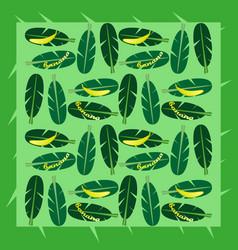 seamless background with banana and banana palm le vector image