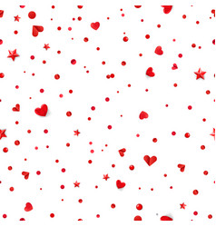 seamless pattern with red hearts and confetti vector image