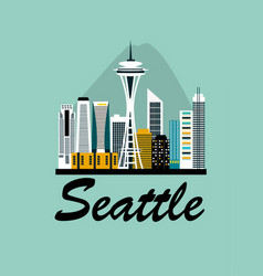 Seattle city travel background vector