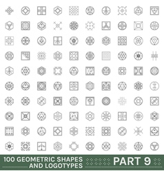 set 100 geometric hipster shapes vector image