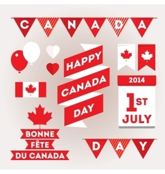 Set design elements for Canada Day first of July vector image
