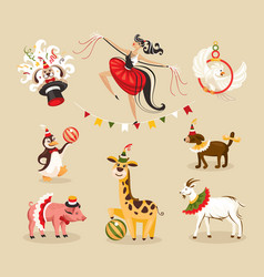 Set of circus animals and characters vector