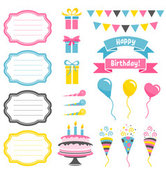 set of colorful birthday party elements isolated vector image