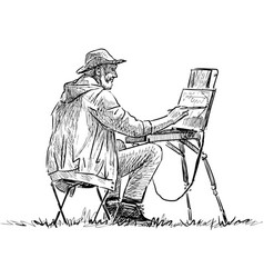 Sketch elderly artist painting in open air vector