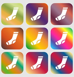 Socks icon sign Nine buttons with bright gradients vector