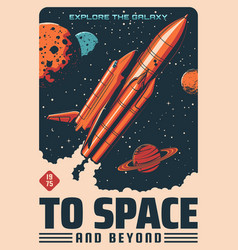 Space planets and spaceship astronomy poster vector