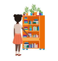 Student girl standing with bookshelf vector