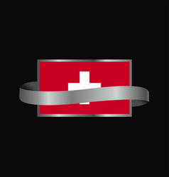 Switzerland flag ribbon banner design vector