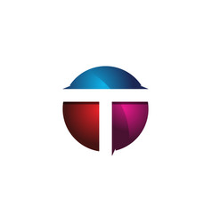 t 3d colorful circle letter logo icon design vector image
