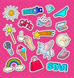 teenage girl style stickers patches and badges vector image