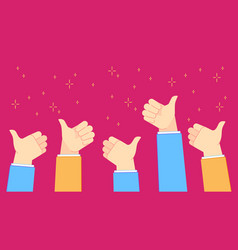 thumb up feedback successful office people with vector image