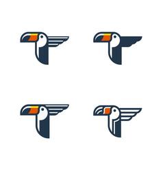toucan tropical bird logo template vector image