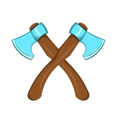 Two crossed axes icon cartoon style vector
