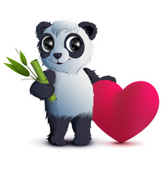 valentines day bear panda holds stalk of bamboo vector image