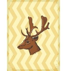 vintage grunge background with deer vector image