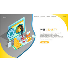 web security landing page website template vector image