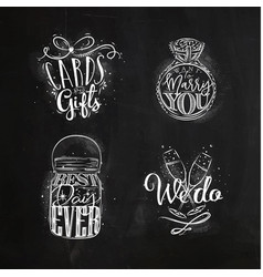 Wedding symbols chalk vector