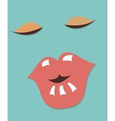 woman face retro vector image