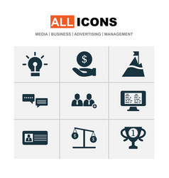 Work icons set with 5-star review id card hand vector
