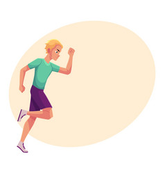 Young and handsome male runner sprinter jogger vector