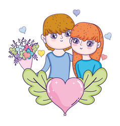 young lovers couple characters with heart vector image