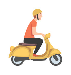 young man riding scooter side view guy in vector image