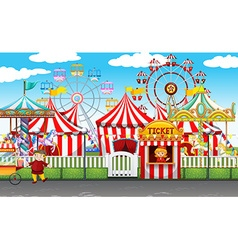 Carnival with many rides and shops vector image vector image