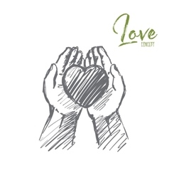 Hand drawn heart in human palms with lettering vector
