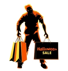 Halloween zombie shopper vector image vector image