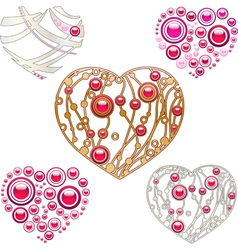Jewerly hearts vector image vector image