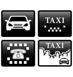 set black taxi cab icons vector image vector image