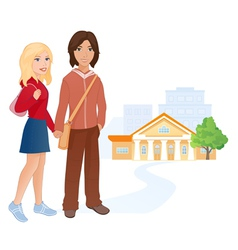 Students couple vector image