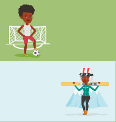 two sport banners with space for text vector image vector image
