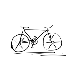 Bicycle handdrawn sketch isolated on white black vector image