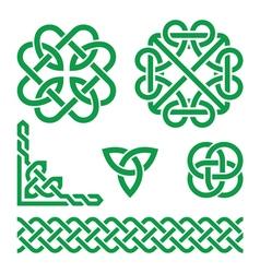 Celtic green Irish knots braids and patterns vector image vector image