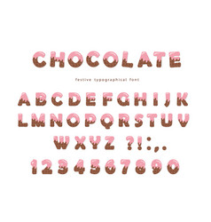 chocolate font cute letters and numbers can be vector image