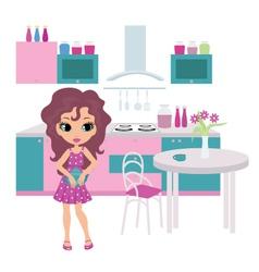 girl in kitchen vector image vector image