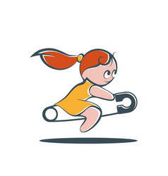 little girl riding a safety pin vector image vector image